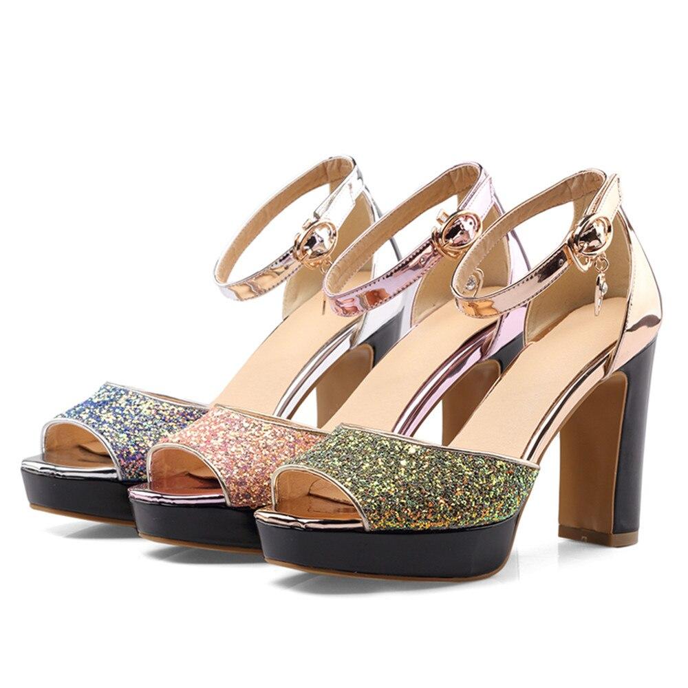 ea5fb548ba0 Tamaño Asumer Elegante 33 Grande Bling rosado De Zapatos Altos Rosa Mujeres  Sandalias oro 46 Azul ...