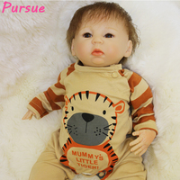 Pursue 18/46 cm Lovely Silicone Doll Reborn Babies Boy Doll for Sale Magnet Mouth Root Hair House Play Bedtime Birthday Gift