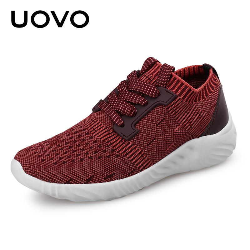 UOVO 2017 New Children'S Casual Shoes Kids Shoes For Girl Solid Mesh Breathable Sneakers Boys Autumn Lace-Up Fashion Sports Shoe men and women casual canvas flat heel flats loafers shoes
