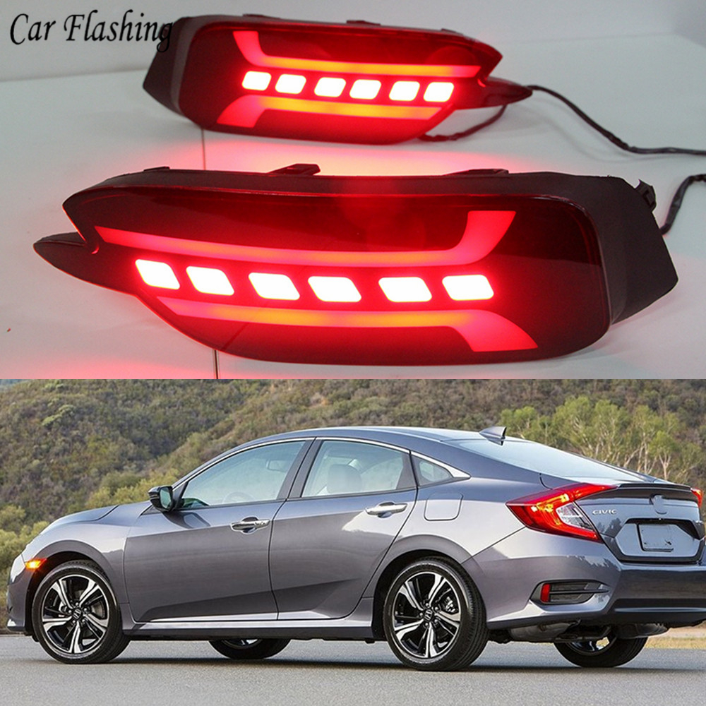Multi functions Car LED Rear Fog Lamp Brake Light Rear Bumper Light Reflector For Honda Civic 2016 2017 2018 2019-in Car Light Assembly from Automobiles & Motorcycles    1