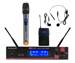 STARAUDIO 2CH UHF Wireless Microphone System 2 Channel Handheld Headset Lapel Lavalier Wireless Microphone System SMU-0202AB