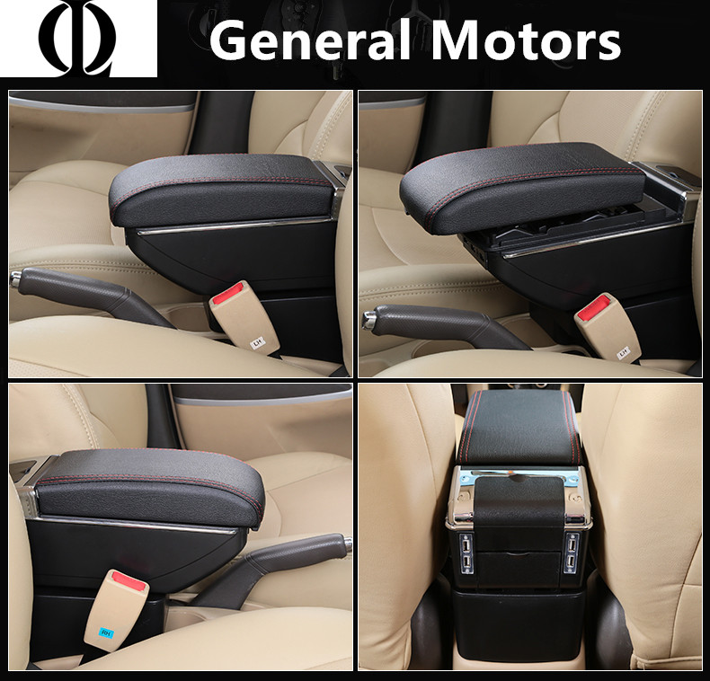 7 USB Battery Charge+LED+Slide Armrest Box Central Store Content With Cup Holder Ashtray For Armrest Skoda Octavia A5 YETI 08~10