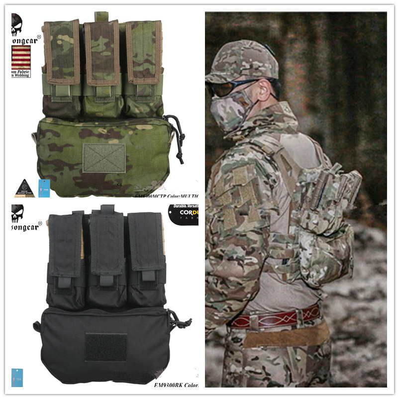 EmersonGear Assault Back Panel Tactical MOLLE Vest Ammo Carrier Pouch Set Panel FOR Hunting Vests