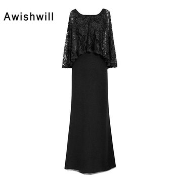Customized Wedding Party Dress for Women With Lace Cape Chiffon Long Formal Evening Gowns Elegant Mother of The Bride Dresses 4