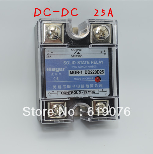 Mager  SSR 25A  DC-DC Solid state relay  Quality Goods  MGR-1 DD220D25 normally open single phase solid state relay ssr mgr 1 d48120 120a control dc ac 24 480v