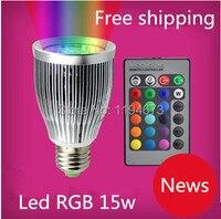 Бесплатная доставка, 1 шт. новый LED лампы Spotlight COB E27 15 Вт прожектор RGB заменить галогенные лампы с ИК-пульта дистанционного управления