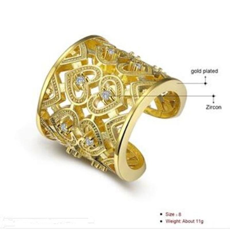 Qızıl və qızıl qızıl rəngli montaj sirkonu nişanlı - Moda zərgərlik - Fotoqrafiya 3