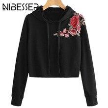 3435afec946 NIBESSER Women Fashion Flower Embroidery Hoodies Sweatshirts Female Casual  Black Cropped Tops Pullovers Streetwear Z30