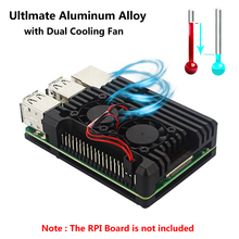 For Raspberry Pi 4 Aluminium Metal Case Raspberry Pi 3 Case Cooling Enclosure with Dual Fan for Raspberry Pi 3 Model B 3B Plus