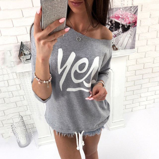 New Women Hoodies Casual Candy Color One Shoulder Printing Sweatshirt Spring Autumn High Quality Kawaii Ladies Pullovers Moletom