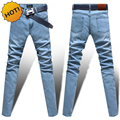 Fashion Men light blue/black/grey/dark grey Denim Jeans Man Skinny Stretch Pencil Pants washing Slim Fit Leg Trousers Bottoms