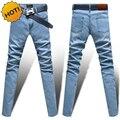 Los Hombres de moda azul claro/negro/gris/gris oscuro de Mezclilla Jeans Hombre Flaco Stretch Pantalones Lápiz lavado chaqueta Delgada ajuste de La Pierna Pantalones Bottoms