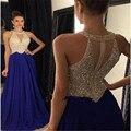 Longo vestido de baile 2016 Royer Azul vestidos de formatura vestido de festa Elegante Sexy Contas de Cristal Mulheres vestidos de baile