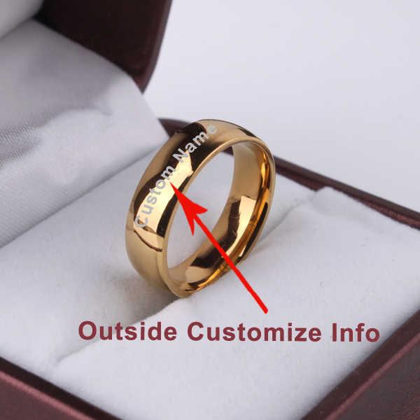 Eengrave カスタム名シグネットリングロゴライトバージョンゴールドカラーの結婚指輪光沢のある 316l ステンレス鋼リング男性