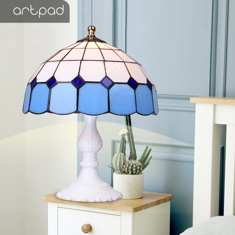 Artpad Turkish Table Lamp Vintage Handwork Stained Glass Lampshade Living Room Bar E27 Led Holder Turkish Art Decor Bedside Lamp