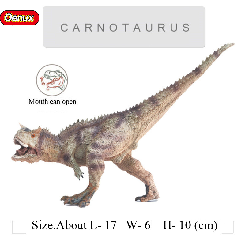 Ferocious Jurassic  Dinosaurs Classic Carnotaurus T-REX Mouth Can Open Dinosaurio Action Figures Toy For Kids Gift oenux jurassic carnivorous giganotosaurus t rex mouth can open pvc dinosaurs model action figures toys for boy s gift
