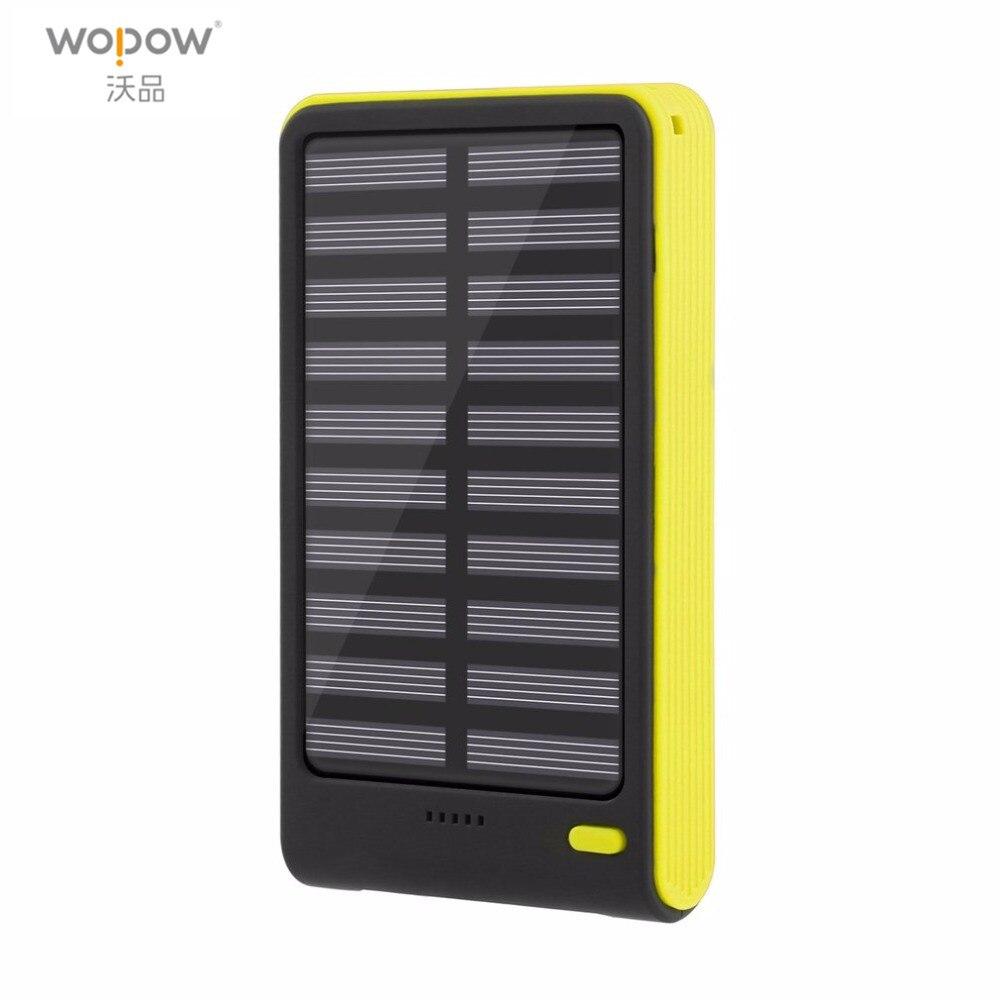 Wopow 10000mAh Solar Power Bank Dual USB External Battery Mobile Phone PowerBank Universal Long Lasting portable