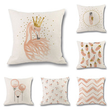 Pink Flamingo Cushion Cover Watercolor Style Feather Balloon Wave Print Linen Pillowcase for Sofa Bedroom Decorative Home Decor uneven wood print linen sofa pillowcase