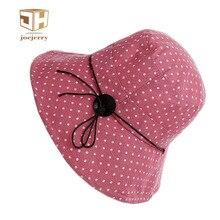 joejerry Women Dot Printed Fisherman Bucket Hat Design Summer Beach Hats UV Protection For Girl
