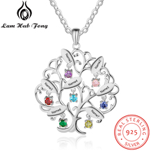Tree of Life Design Personalized Birthstone 925 Sterling Silver Pendant Necklace Engraved Name Jewelry Family Gift(Lam Hub Fong)