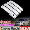 for Nissan Sentra B16 2007 - 2012 Chrome Handle Cover Trim Set 200 SE 2008 2009 2010 2011 Car Accessories Stickers Car Styling