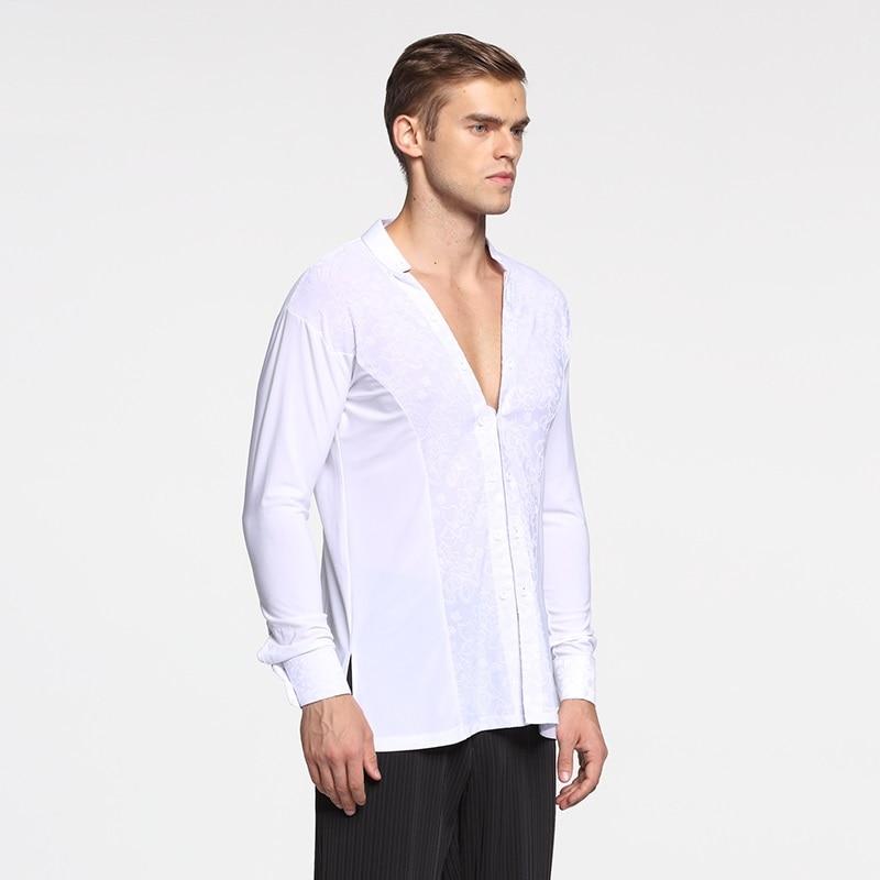 Picture of Black Ballroom Latin Shirt Latin Dance Shirts White Men Dance Top Mens Ballroom Dancewear Men Ballroom Clothes Ballroom Shirt