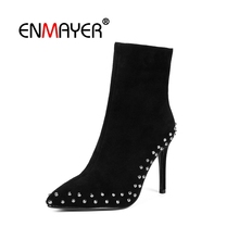 ENMAYER Woman Ankle boots Short Winter Shoes Pointed toe Black Size 34-40 Causal Bowtie Flock Med heels Thin CR1914