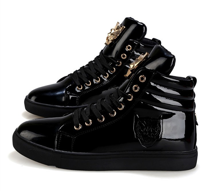 Fashion Leopard Sequined Skate Shoes For Men Ankle Boots 2015 New PU Patent Leather Shoe High Top Casual Flats Medusa Shoes F184 (17)