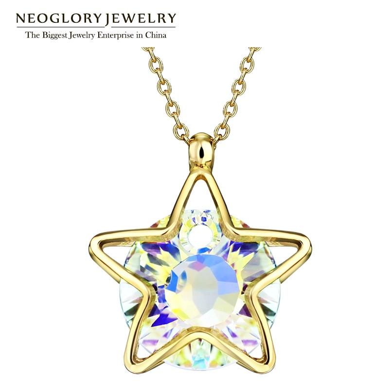 Neoglory 보석 오스트리아 크리스탈 라이트 옐로우 골드 컬러 펜던트 목걸이 초커 2020 새로운 생일 선물