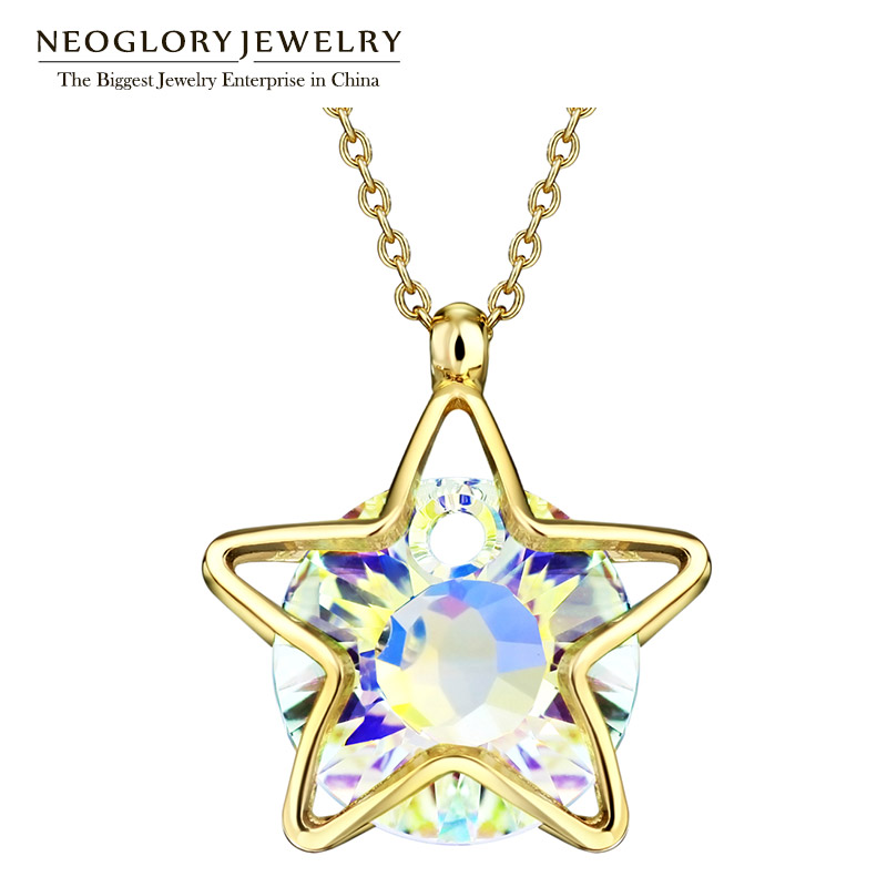 Jóias neoglory cristal austríaco luz amarela cor de ouro pingente de colar gargantilha para as mulheres 2020 novos presentes de aniversário