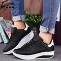 Женщина Туфли На Платформе Качели Клинья Дышащей Обуви Женщины Сетки Прогулки Теннис Feminino Chaussure Femme