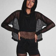 2d7d4ec38e0 Women Summer Sexy Black Mesh perspective Ladies Breathable Hooded Sun care  Cover Up Beach wear jumper Tops