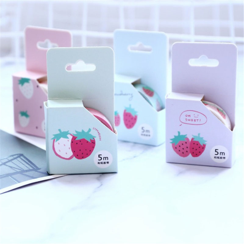 1.5CM*5M Strawberry Masking Tape Correction Washi Tape Scrapbooking Album Bottle DIY Decor Craft Tape Kids Gift