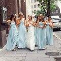 Vestido de Festa de Casamento Long Light Sky Blue Sweetheart Bridesmaid Dresses Prom Dress Robe de Soiree Custom Made