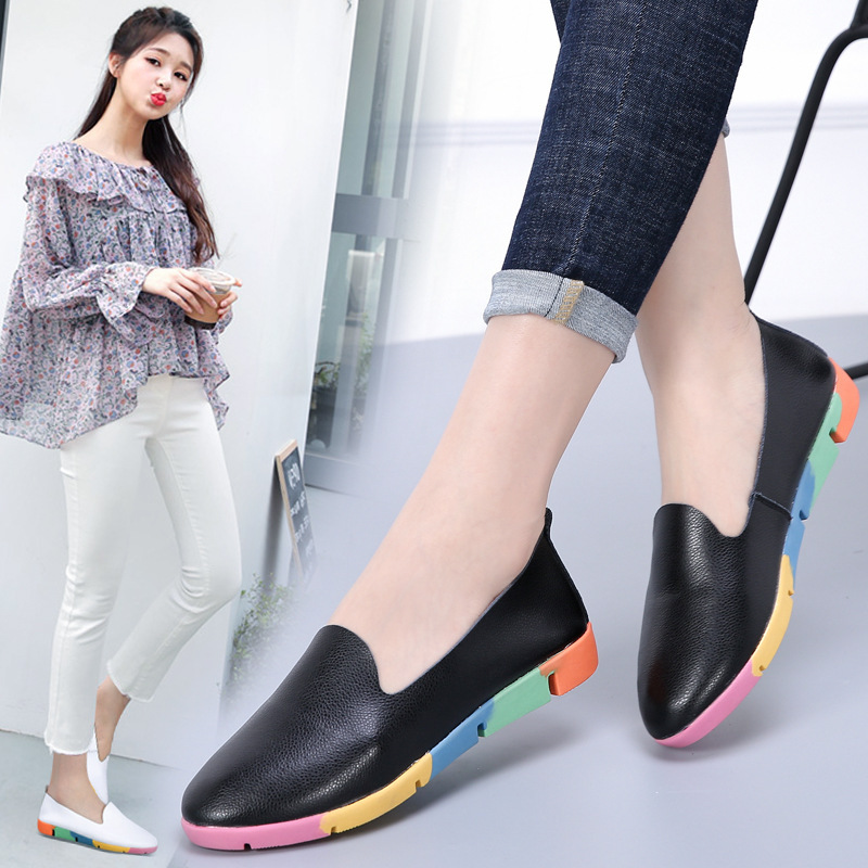 DONGNANFENG Women Flats Mother Ladies Female Shoes Loafers Cow Genuine Leather Pigskin Slip On Feminino Nurse Peas 35 44 AZE 912 in Women 39 s Flats from Shoes