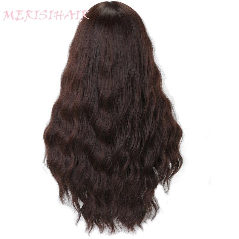 Меризи волосы длинные волнистые волосы темно-коричневый Цвет парики для Для женщин aveage Размеры синтетические волосы высокая Температура в...