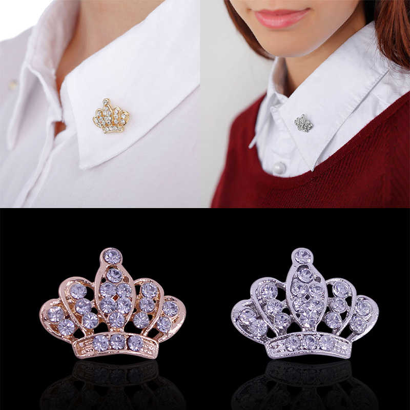 LNRRABC Wanita Crown Bros Rhinestones Kristal Bros Kerah Pin Perhiasan wanita tas pin badge broches de luxo strass