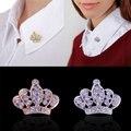 Hot 2 Colors Women Crown Brooch Rhinestone Crystal Breastpin Collar Pin Jewelry women bag pin badge broches de strass luxo