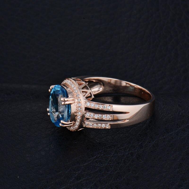 Fester 14kt Rose Gold Diamant Blauer Topas Ring Verlobungsring Oval