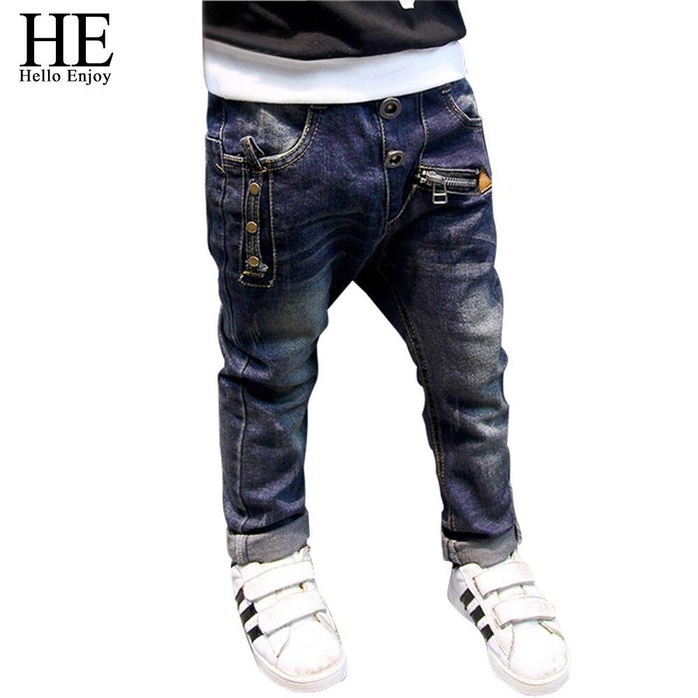 HE Hello Enjoy/джинсы для мальчиков, коллекция 2019 года, модные джинсы для мальчиков на весну-осень, детские джинсовые брюки, детские темно-синие ди...