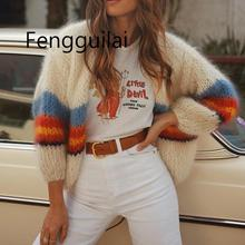 Autumn Winter Women cardigan 2019 Sweater Loose Knitted Tops Fashion Female Bat Sleeve Knit Cardigan Sweater stripe sweater bat sleeve geometrical cardigan