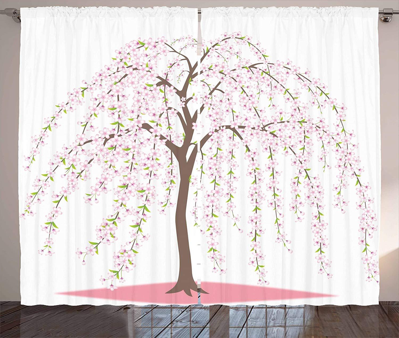 Weeping Flower Curtains Traditional Japanese Sakura Tree Burst Into Flowers Oriental Living Room Bedroom Window Decor Panel