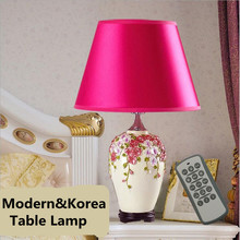 Romantic Korea Hand Made Ceramic Flowers Led E27 Table Light with Remote Control for Wedding Decor Bedside Living Room 1302