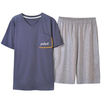 Letnia piżama męska komplet bawełniana męska bielizna nocna męska z krótkim rękawem bielizna nocna krótki top Pant odzież rekreacyjna piżama tanie i dobre opinie Mężczyźni Piżamy Elastyczny pas List F811 REGULAR O-neck COTTON Casual