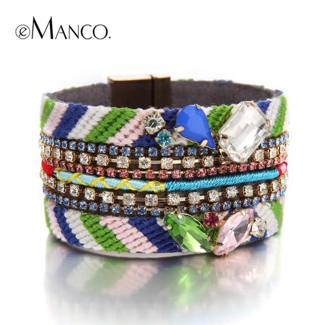 Богемия национальный стиль веревку цепи кристаллы шарм браслеты eManco 2016 марка высокое качество мода pulseiras femininas BL00235-1