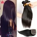 Дешевые Перуанский Волосы 3 Связки С/И Закрытие Jet Black Прямые Дешево Плетение Волос С Закрытие 100 человеческих волос weave закрытие