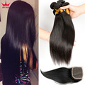 Cabelo Peruano barato 3 Pacotes Com/E Encerramento Jet Black Reta Barato Tecer Cabelo Com Fecho de 100 cabelo humano fechamento tecer