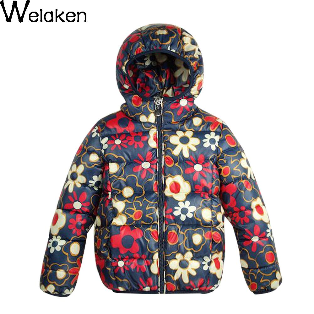 Winter Girls Fashion Floral Pattern Down Coat Kids Warm Outerwear For Spring Children Costume Jacket