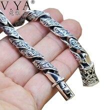 100% реальные 925 Браслеты стерлингового серебра для Для мужчин ретро черный Дизайн одноцветное Серебряные ювелирные изделия из натуральной S925 серебро Для мужчин браслет HYB22