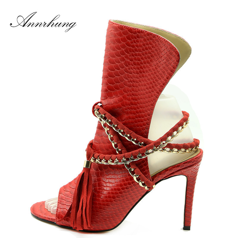 New Arrival Chain Gladiator Sandals Women Peep Toe Tassel Ankle Strap Thin High Heels Sexy Snakeskin Sandalias For WomenNew Arrival Chain Gladiator Sandals Women Peep Toe Tassel Ankle Strap Thin High Heels Sexy Snakeskin Sandalias For Women